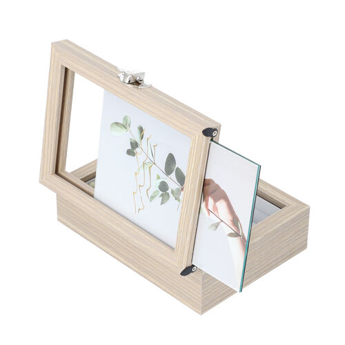 Burlywood Colour Jewellery Box with Photo Frame on Top, Mirror Inside and Latch Clip (16x11.5x5.5cm)