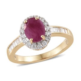 ILIANA 18K Yellow Gold AAA Burmese Ruby (Ovl 1.60 Ct) Diamond (SI/G-H) Ring 2.000 Ct.