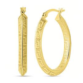 Greek Key Hoop Earrings in 14K Gold Plated Sterling Silver