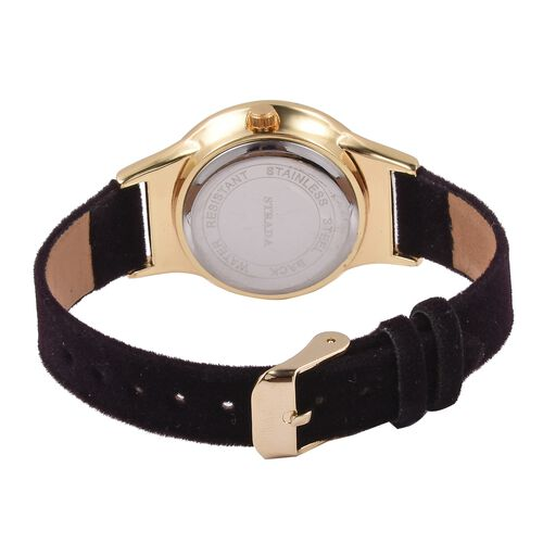 New Season-STRADA Japanese Movement White Austrian Crystal Studded Water Resistant Watch in Gold Tone with Black Velvet Strap