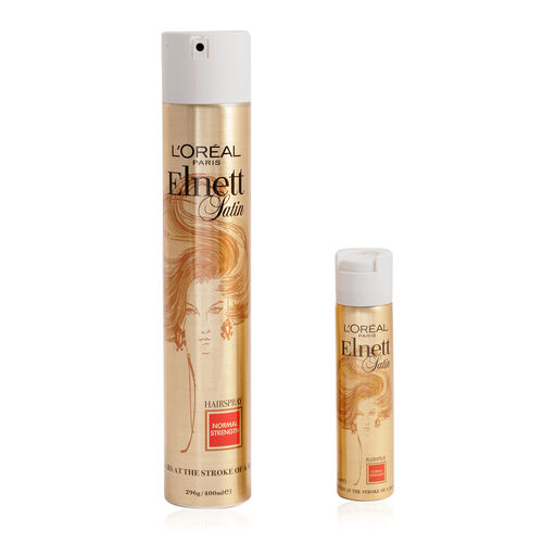 Loreal Elnett Satin Hair Spray 400ml & 75ml Pack Normal Strength
