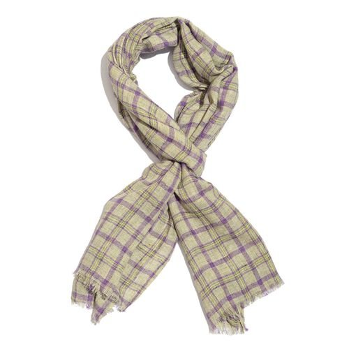 Italian Designer Inspired Purple, Green and Cream Checks Pattern Scarf (Size 180x70 Cm) 5% CASHMERE WOOL, 65% MICRO MODAL and 30% MERCERIZED COTTON