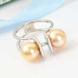 Golden South Sea Pearl Ring in Platinum Overlay Sterling Silver