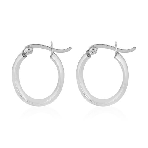 Rhodium Overlay Sterling Silver Plain Hoop Earrings (with Clasp)