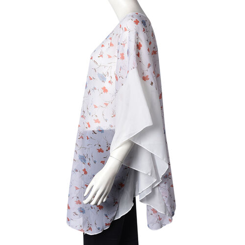 Flower Pattern Poncho (One Size Fits All; 65x75 Cm) - Ivory, Blue and Orange