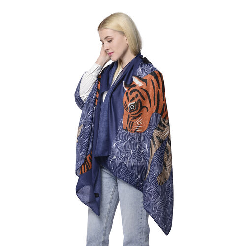 Swimming Tiger Pattern Scarf in Blue (80x180cm)