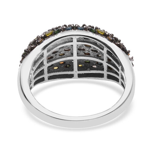 Red, Green, Blue, Yellow and Champagne Diamond Ring in Platinum Overlay Sterling Silver 1.00 Ct