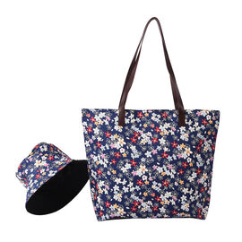 2 Piece Set - Navy and Flower Pattern Tote Bag with Zipper Closure (45x12x35cm) and Matching Hat