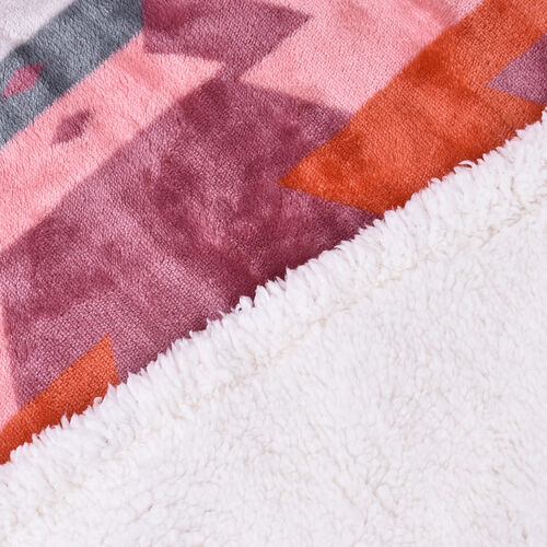 Serenity Night - Santa Fe Collection - Flannel Sherpa Blanket (200x150cm) - Pink - Oeko Tex Certified - 220 GSM Sherpa + 270 GSM Flannel