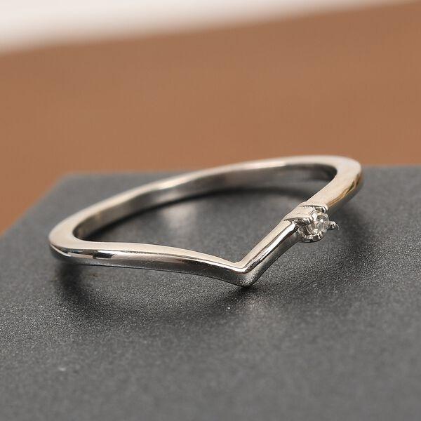 MP Diamond Wishbone Ring in Platinum Overlay Sterling Silver