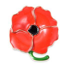 DOD - TJC Poppy Design - Flower Brooch with Enameled in Silver Tone