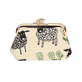 SIGNARE - Tapastry  Spring Sheep Coin Frame Purse ( 13 x 8 x 5 Cms )