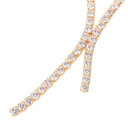 ELANZA AAA Cubic Zirconia (Rnd) Tennis Necklace (Size 18 with 2.5 inch Extender) in Gold Overlay Sterling Silver, Silver wt 12.00 Gms Eq Carat Wt 21.80 Cts