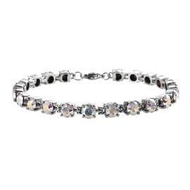 J Francis - Crystal from Swarovski White AB Crystal (Rnd) Bracelet (Size 7.5) in Stainless Steel