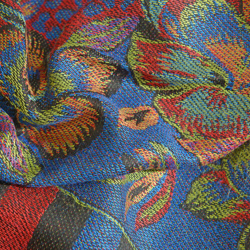 Designer Inspired-Black, Red, Blue and Multi Colour Floral and Leaves Pattern Scarf with Fringes (Size 190x70 Cm)