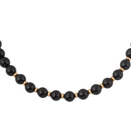 9K Yellow Gold Black Onyx Necklace (Size 16) 90.00 Ct.