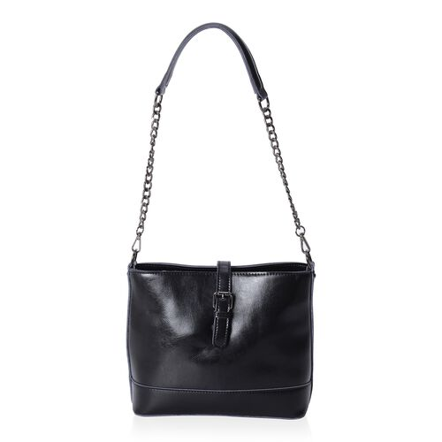 Close Out Deal 100% Genuine Leather Classic Black Vintage Style Handbag (Size 23x20x10 Cm)
