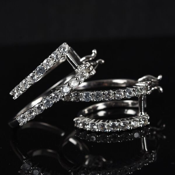Natural Cambodian Zircon Double Hoop Earrings (with Clasp Lock) in Platinum Overlay Sterling Silver 1.16 Ct,