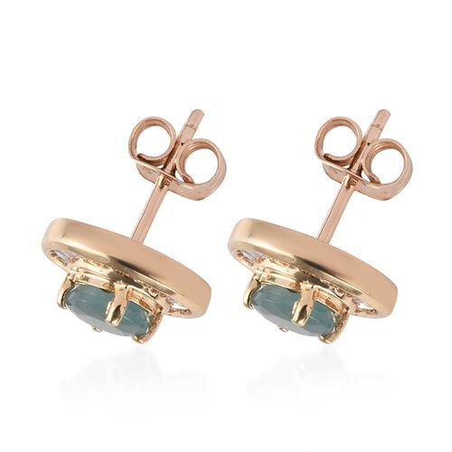 9K Yellow Gold Grandidierite (Rnd), Diamond Stud Earrings (with Push Back) 1.65 Ct.
