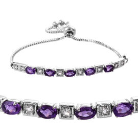 Amethyst (Ovl), White Topaz Adjustable Bracelet (Size 6.5 - 9.5) in Stainless Steel 2.500 Ct.