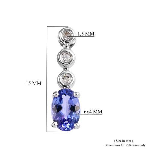 WEBEX-  9K White Gold AA Tanzanite (Ovl 0.90 Ct) Diamond Earrings  0.983  Ct.