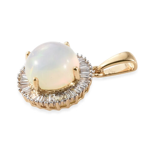 ILIANA 18K Yellow Gold AAA Rare Size Ethiopian Welo Opal (Rnd 9.00mm) and Diamond (SI/G-H) Round Pendant 2.150 Ct.