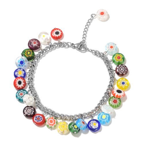 Multi Colour Murano Style Glass Bracelet (Size 7.5 and 1.5 inch Extender) in Stainless Steel