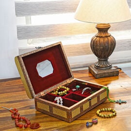 Elephant Embossed Handcrafted Jewellery Storage Box with Inside Mirror and Maroon Velvet Lining - Go
