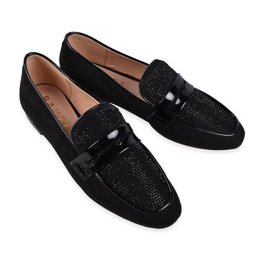 Ravel Black & Diamante Luis Loafers (Size 7)