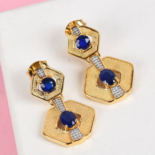 Tanzanian Blue Spinel Earrings (with Push Back) in 14K Gold Overlay Sterling Silver 1.56 Ct., Silver wt 5.00 Gms