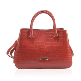 Premium Collection -100% Genuine Leather Red Colour Croc Embossed Satchel Bag with Removable Shoulde