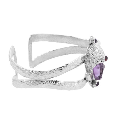 Sajen Silver - Amethyst and Multi Gemstone Handcarved Devi Danu Cuff Bangle (Size 7.5) in Sterling Silver 10.35 Ct, Silver wt. 36.82 gms