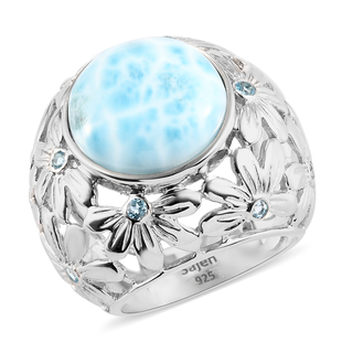 Sajen Silver Larimar and Blue Topaz Floral Ring in Sterling Silver 11.00 ct, Silver wt 10.75 Gms