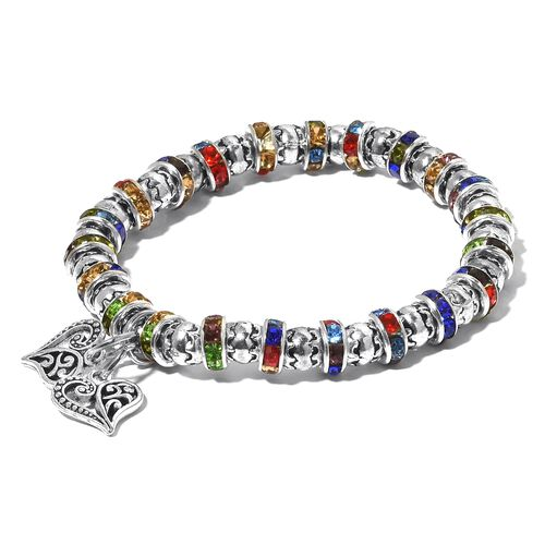 Set of 5 - Simulated White Topaz, Multi Colour Austrian Crystal and Simulated Multi Gemstone Stretchable  Bracelet.