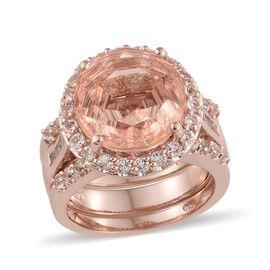 Laser Cut Galileia Blush Quartz (Rnd 14mm, 10.30 Ct), White Topaz Ring (Size Q) in Rose Gold Overlay Sterling
