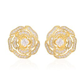 Simulated Diamond Rose Stud Earrings in Gold Plated
