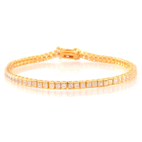 ELANZA AAA Princess Cut Simulated White Diamond (Sqr) Tennis Bracelet (Size 8) in Gold Overlay Sterling Silver