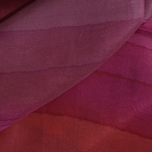 100% Mulberry Silk Pink, Purple and Multi Colour Stripes Hand Screen Printed Scarf (Size 180X50 Cm)