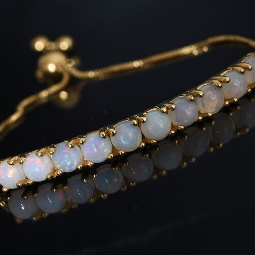 Ethiopian Welo Opal (Rnd) Adjustable Bracelet (Size 6.5-7.5) in 14K Gold Overlay Sterling Silver 1.750 Ct.