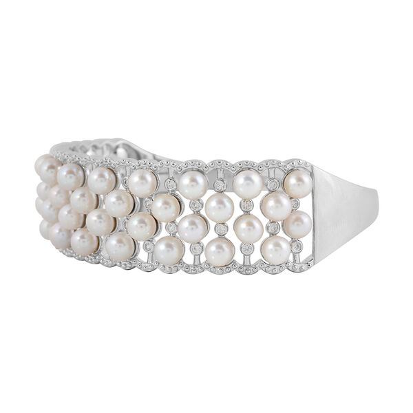 Japanese Akoya Pearl (Rnd), Natural White Cambodian Zircon Cuff Bangle (Size 7.5) in Rhodium Overlay Sterling Silver, Silver wt 24.50 Gms