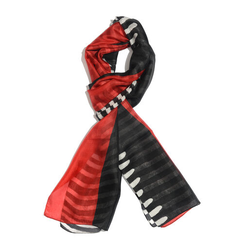 100% Mulberry Silk Red, Black and White Colour Hand Screen Zebra Printed Scarf (Size 180x50 Cm)