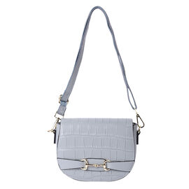 Close Out Deal- 100% Genuine Leather Crossbody Bag with Detachable Strap (Size 17x7x21cm) - Blue