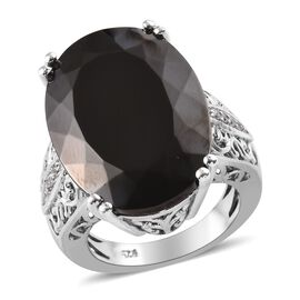 14.25 Ct Elite Shungite and Zircon Solitaire Ring in Platinum Plated Sterling Silver 6.30 Grams