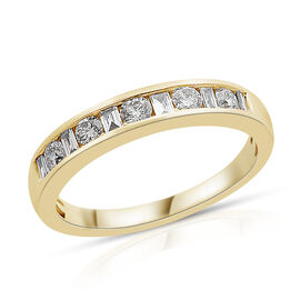 ILIANA 18K Yellow Gold IGI Certified Diamond (Bgt and Rnd) (SI/G-H) Band Ring 0.500 Ct.