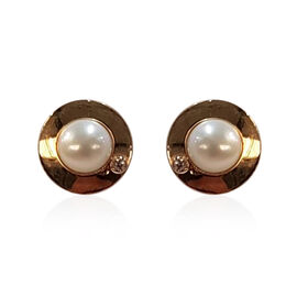 9K Yellow Gold Freshwater Pearl and Simulated Diamond Stud Earrings (with Push Back)