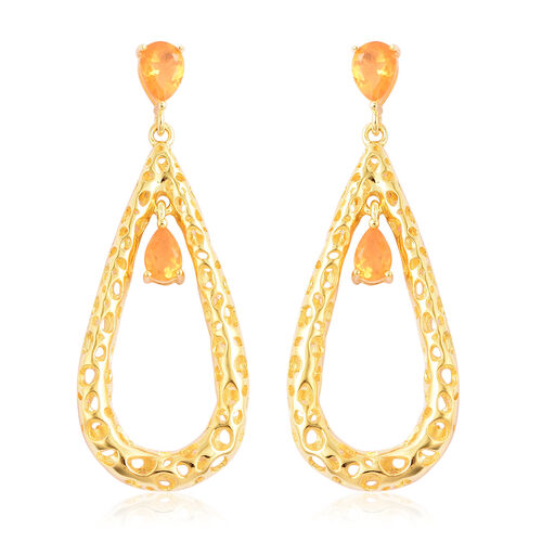 RACHEL GALLEY Misto Collection - Jalisco Fire Opal Latticework Dangle Earrings (with Push Back) in Y
