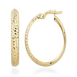 Vicenza Collection Diamond Cut Hoop Earrings in 9K Yellow Gold