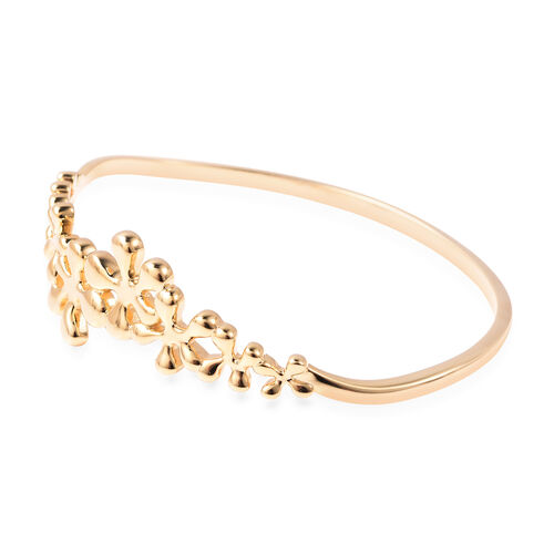 LucyQ Splash Collection - Yellow Gold Overlay Sterling Silver Bangle (Size 8)