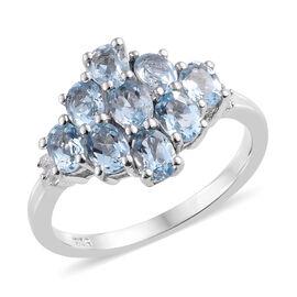 Espirito Santo Aquamarine (Ovl), Diamond Cluster Ring in Platinum Overlay Sterling Silver 1.520  Ct.