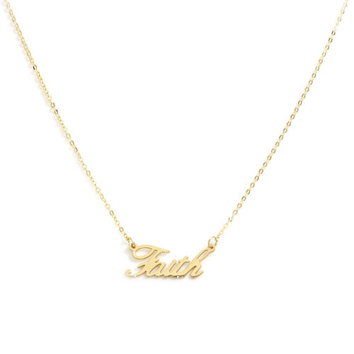 Italian Made 9K Yellow Gold Faith Necklace (Size 18)